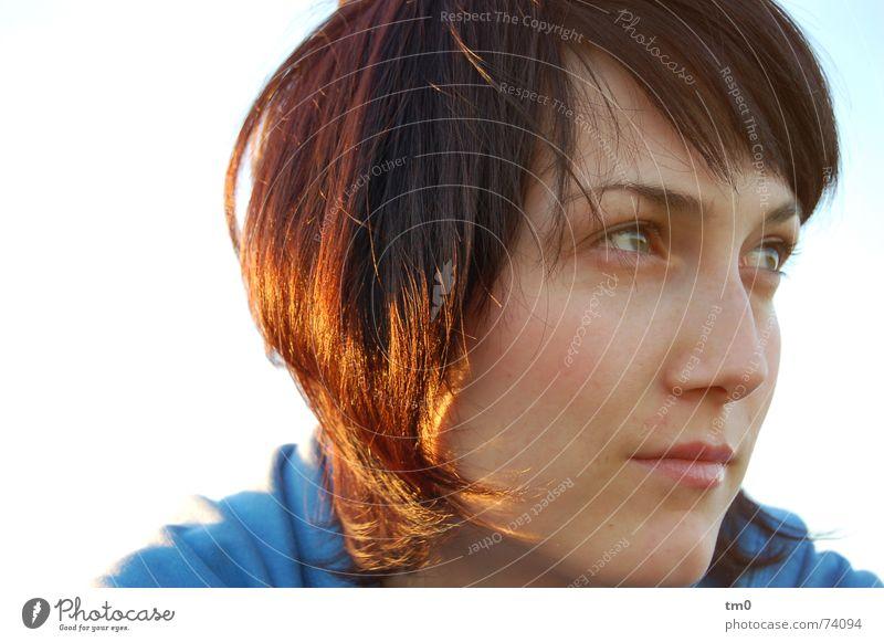 ein euro für ihre gedanken Frau Himmel blau schön Sonne Gefühle Denken träumen Beleuchtung Hoffnung Romantik Wunsch Fragen Wissen Wagen