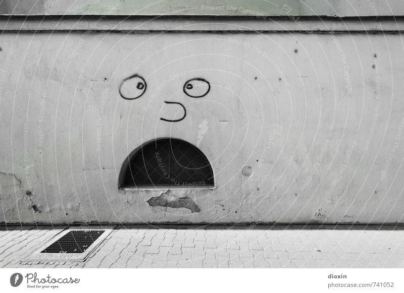 Hessentreffen 14 | OMG! Kunst Kunstwerk Graffiti Straßenkunst Menschenleer Mauer Wand Fassade Fenster Kellerfenster Wege & Pfade Bürgersteig Stadt Entsetzen