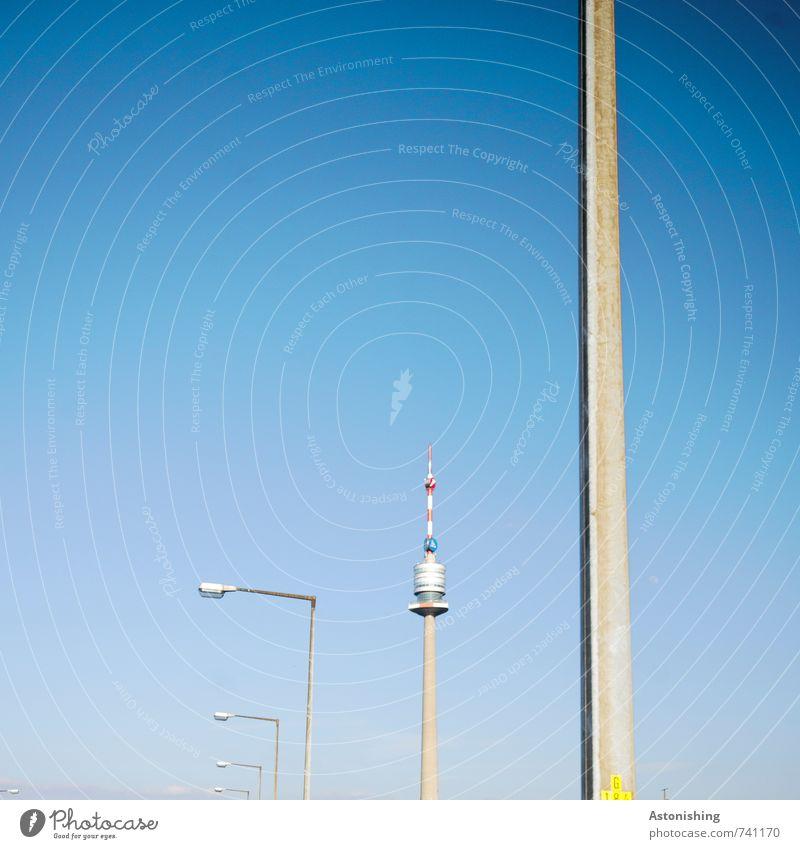 Donauturm Luft Himmel Wolkenloser Himmel Frühling Wetter Schönes Wetter Wärme Wien Österreich Hauptstadt Turm Bauwerk Antenne Sehenswürdigkeit donauturm Metall