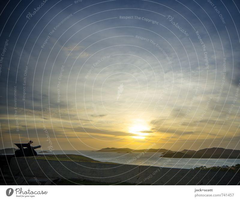 Green Hill Sunset Himmel schön Sonne Erholung Meer Wolken Ferne Wärme Küste Freiheit Horizont Kraft leuchten Klima Insel Vergänglichkeit