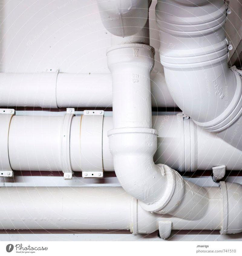 Röhrich weiß Wand Mauer hell einfach rund Zusammenhalt Röhren Verbindung Abflussrohr