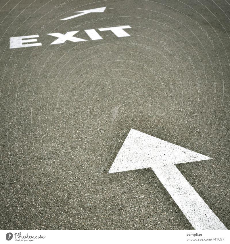 EXIT Stadt Straße sprechen Wege & Pfade Tod Arbeit & Erwerbstätigkeit Business Schilder & Markierungen Verkehr Erfolg Hinweisschild Zeichen Pause planen fahren Ziel