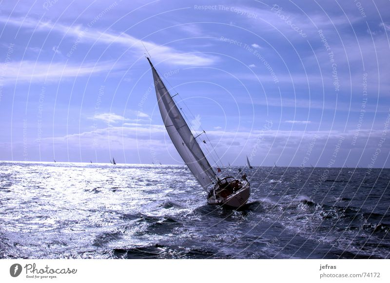 Transquadra race Frieden Himmel awakens blue boat cord cruise dawn glow harbour line Strommast ocean peaceful pulley rope sail ship silence sky ruhig water wave