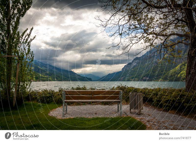 Platz mit Aussicht Wohlgefühl ruhig Ferien & Urlaub & Reisen Tourismus Ausflug Freiheit Umwelt Natur Landschaft Wasser Wolken See Walensee Erholung hocken Blick