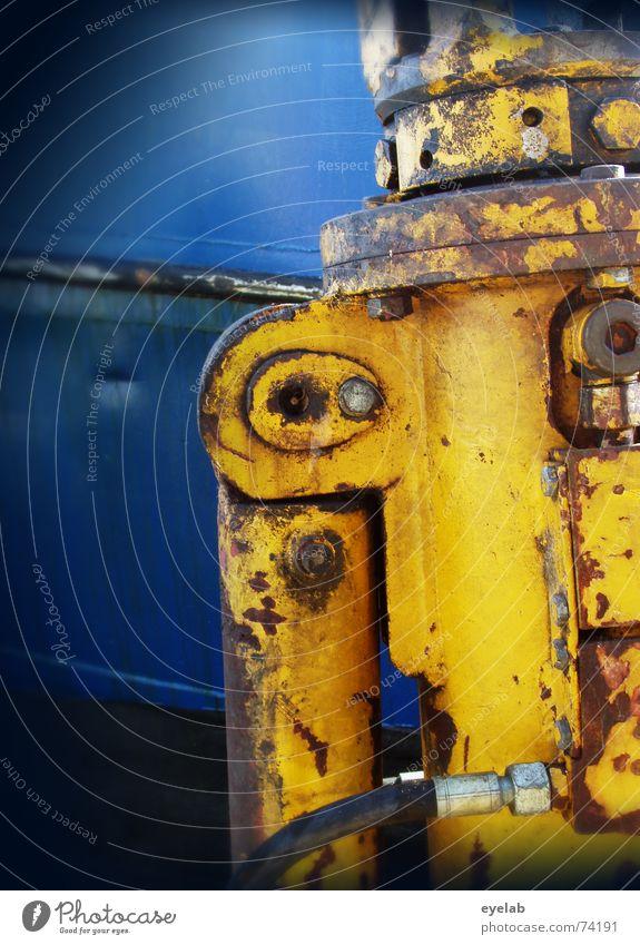 Industrielles Dingsbums blau gelb Arbeit & Erwerbstätigkeit Metall groß gefährlich Industriefotografie bedrohlich Stahl Maschine schwer hydraulisch