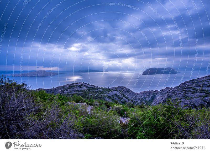 Blauer Horizont Natur Landschaft Urelemente Wasser Himmel Wolken Gewitterwolken schlechtes Wetter Sträucher Felsen Küste Meer Adria Insel Kroatien Europa