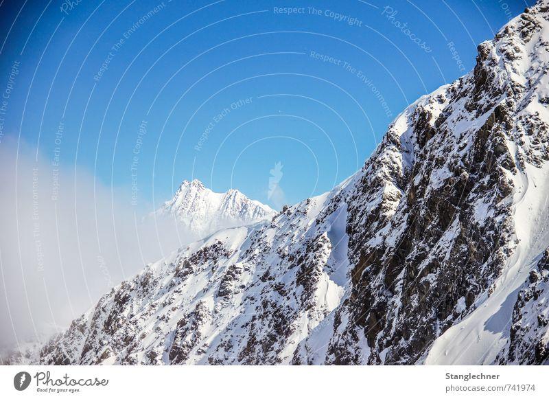 Frog comes ! Natur Luft Himmel Winter Schönes Wetter Nebel Alpen Berge u. Gebirge Gipfel Schneebedeckte Gipfel Gletscher Kaunertal bedrohlich blau schwarz weiß