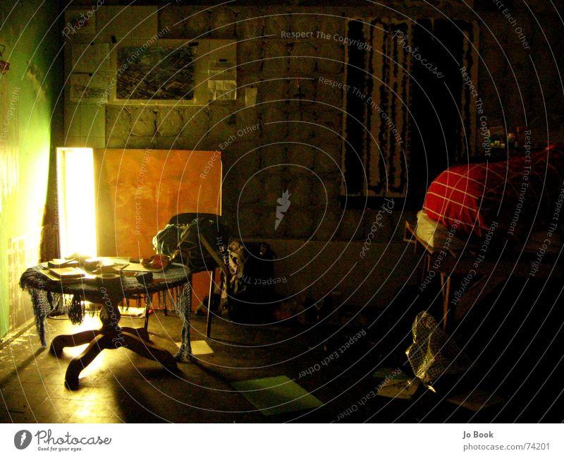 ITS sozial Seite Enschede Supermarkt Fotograf Lampe grün Bett Am Rand häuser besetzen squat kraak it's alt Kreativität provisorisch Leben umsonst hausbesetzung