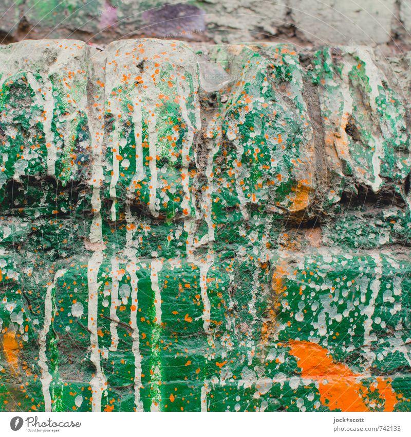 Manifestation (grün) Farbe Wand Graffiti Stil Mauer Linie orange Coolness einzigartig Gelassenheit trendy Backstein chaotisch exotisch