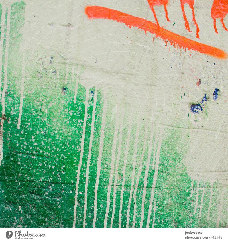 farblich grün sauer Subkultur Straßenkunst Spray Mauer Dekoration & Verzierung Stein Graffiti Linie Farbverlauf authentisch frech trendy positiv orange