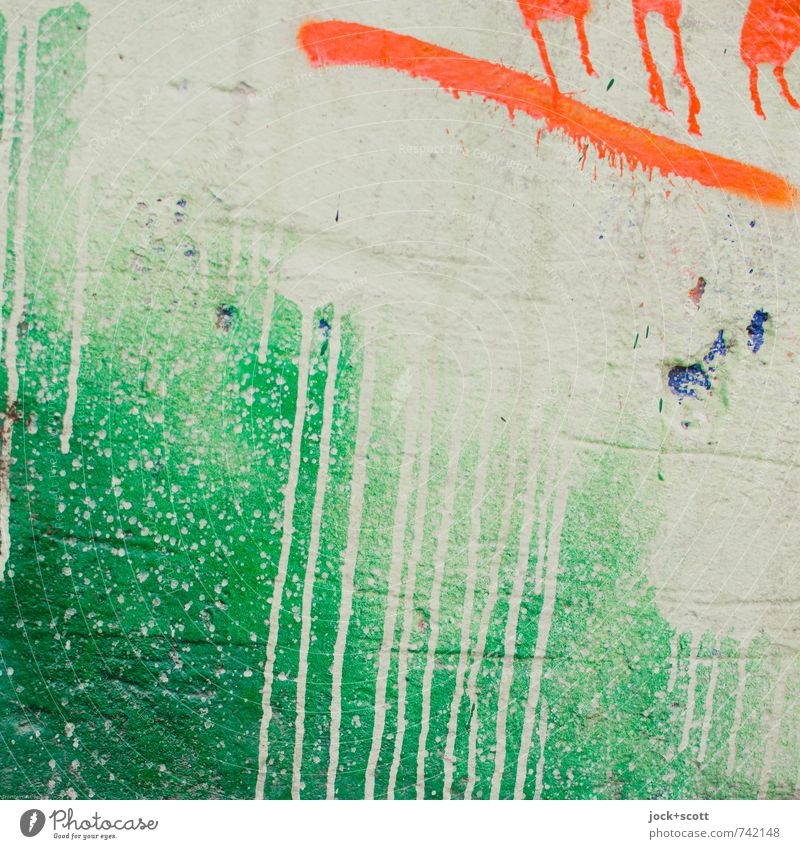 grün sauer Freude Wand Graffiti Mauer Hintergrundbild Zeit Stein Linie orange Dekoration & Verzierung Kraft authentisch Kreativität Ewigkeit trendy