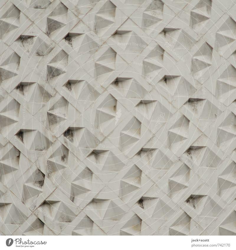 Relief International Wandverkleidung Kunsthandwerk Fassade Dekoration & Verzierung Stein Ornament Linie Netzwerk Zahn der Zeit Geometrie DDR dreckig elegant