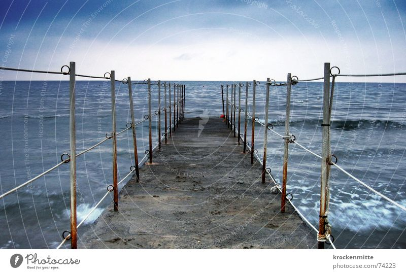 meer morgen Wasser Meer Ferien & Urlaub & Reisen Ferne Wellen Horizont Bad Italien Steg Badeort