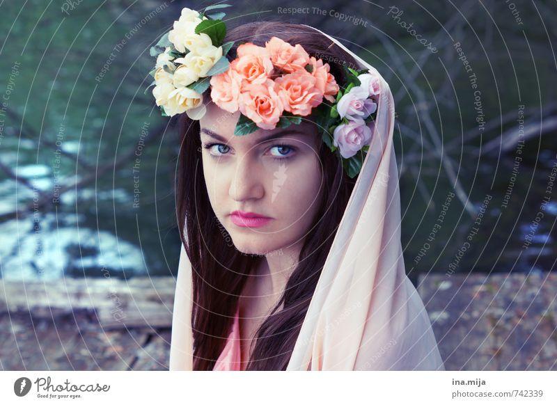 Frühlingsfee Mensch feminin Junge Frau Jugendliche Erwachsene 1 13-18 Jahre Kind 18-30 Jahre Umwelt Natur Sommer Haare & Frisuren brünett langhaarig schön Braut