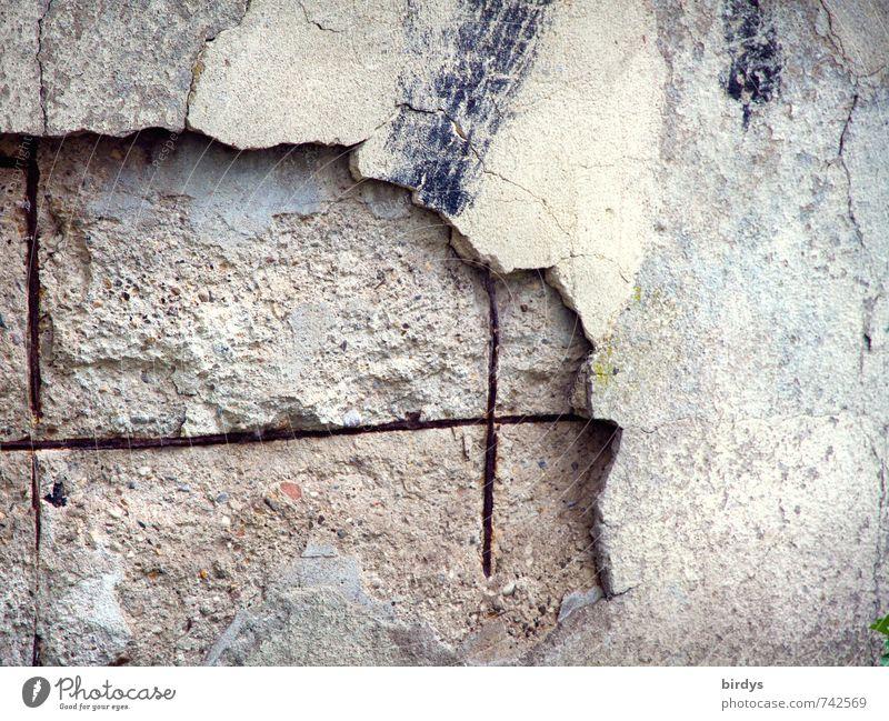 Der Zahn der Zeit Mauer Wand alt authentisch hässlich trist Senior Vergänglichkeit Wandel & Veränderung Betonmauer Rost Armierungsstahl Putz Verfall abblättern