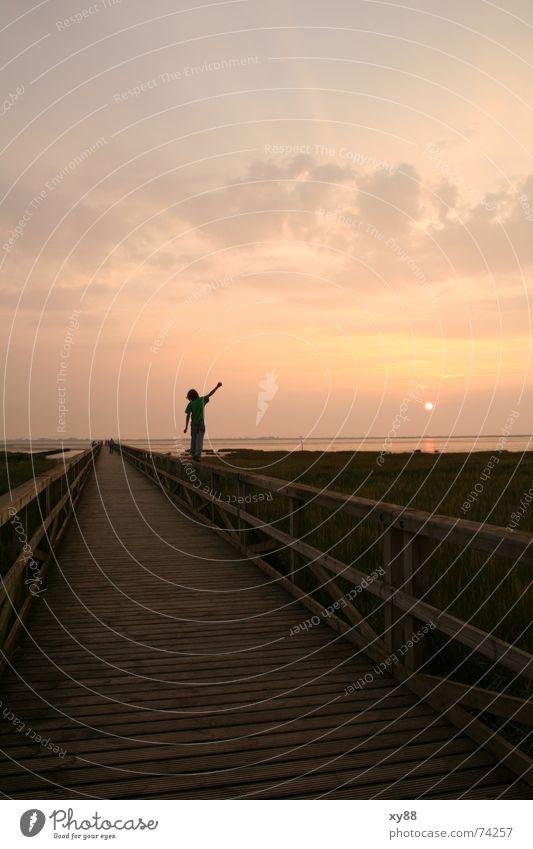Besinnung Meer Strand Wolken ruhig Einsamkeit Ferne Bewegung Wege & Pfade Zufriedenheit Horizont Konzentration Geländer Ewigkeit Steg Mobilität Vorsicht