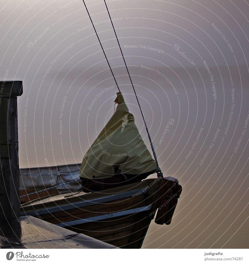 Morgens am Hafen Natur Wasser ruhig Einsamkeit Herbst See Landschaft Wasserfahrzeug Stimmung Küste Nebel Seil Hafen Steg Anlegestelle Segel