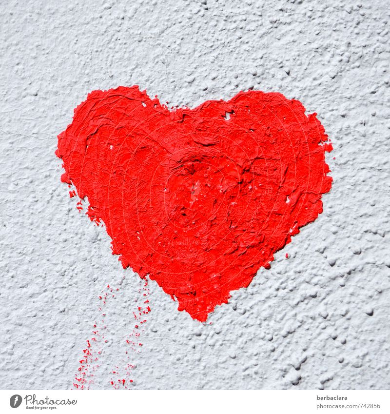 herz.haft | großherzig Farbe weiß rot Wand Gefühle Liebe Mauer Glück Freundschaft Fassade Herz Zeichen Romantik Verliebtheit Wandmalereien