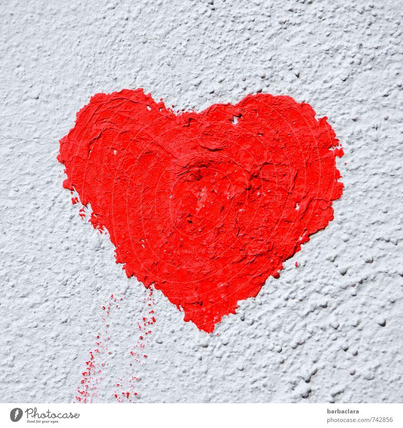 herz.haft | großherzig Wandmalereien Mauer Fassade Zeichen Herz rot weiß Gefühle Glück Liebe Verliebtheit Romantik Farbe Freundschaft Farbfoto Außenaufnahme