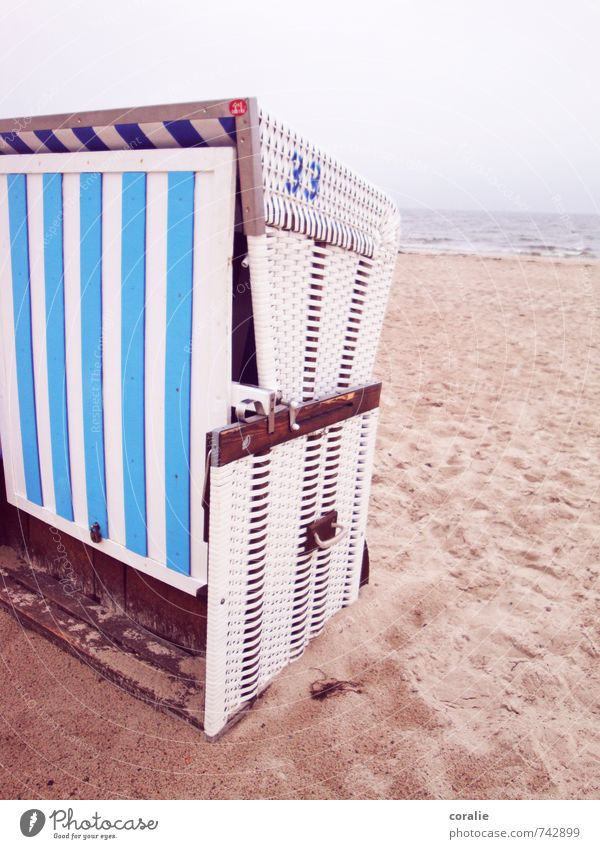 ostseebad Himmel Ferien & Urlaub & Reisen Meer Einsamkeit ruhig Strand kalt Küste Sand Wetter trist geschlossen Ausflug Streifen Ostsee Sommerurlaub