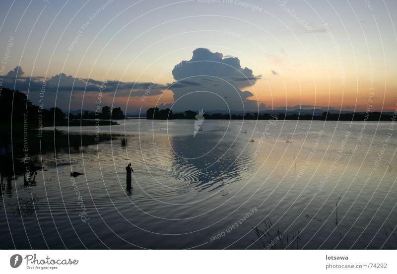 Abendstimmung am See, Sri Lanka Sonnenuntergang ruhig Dämmerung Schwimmen & Baden Frieden