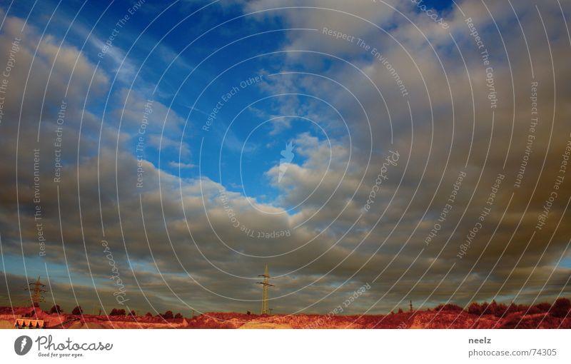 Mission to mars in 20 minutes Himmel blau Wolken Sand Horizont Wüste trocken Strommast Ödland karg Oberleitung