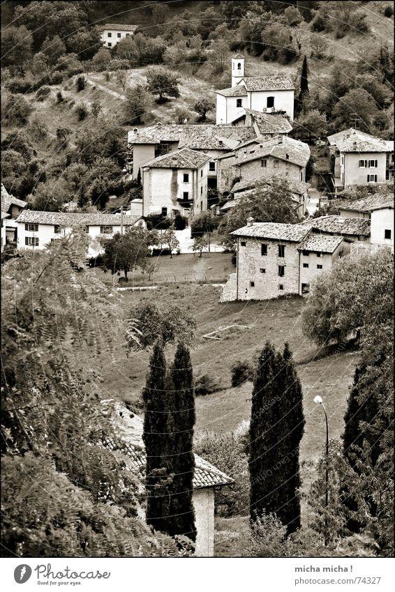 bella italia Gardasee Italien Lombardei Haus Dorf klein niedlich Baum Berghang Landschaft tremosine einzeln Berge u. Gebirge Schwarzweißfoto bw