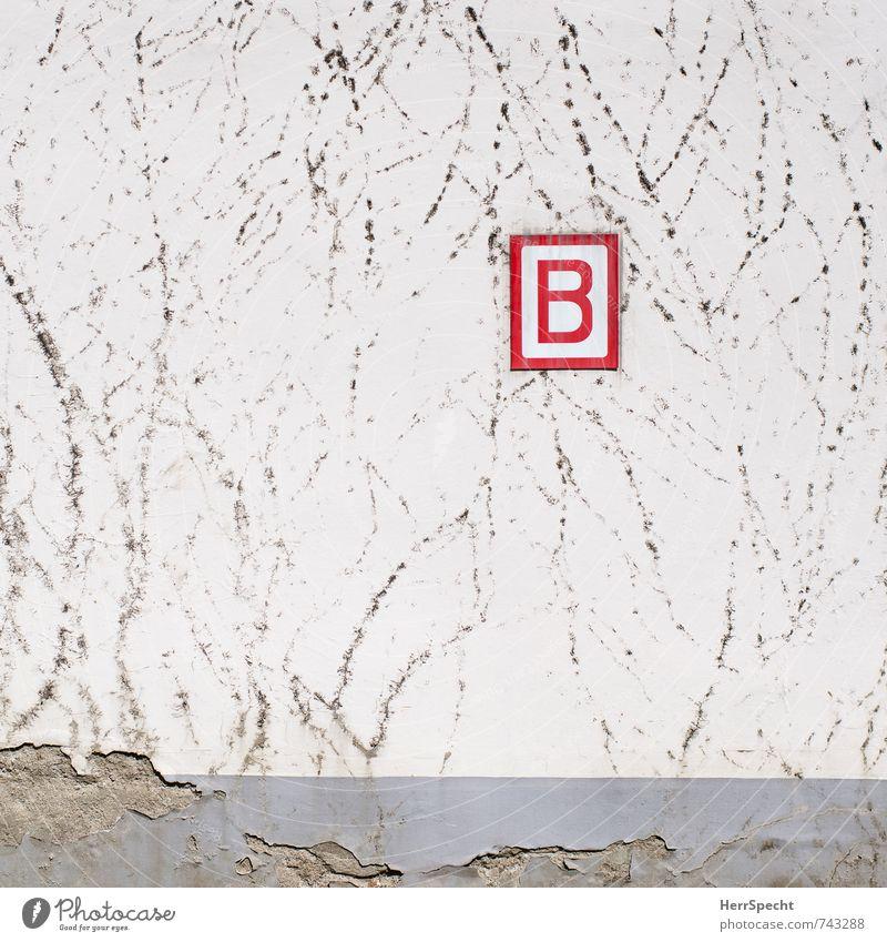 B wie Bewuchsverbot Antwerpen Belgien Stadt Altstadt Haus Bauwerk Gebäude Mauer Wand Zeichen Schriftzeichen Schilder & Markierungen trashig trist grau rot weiß
