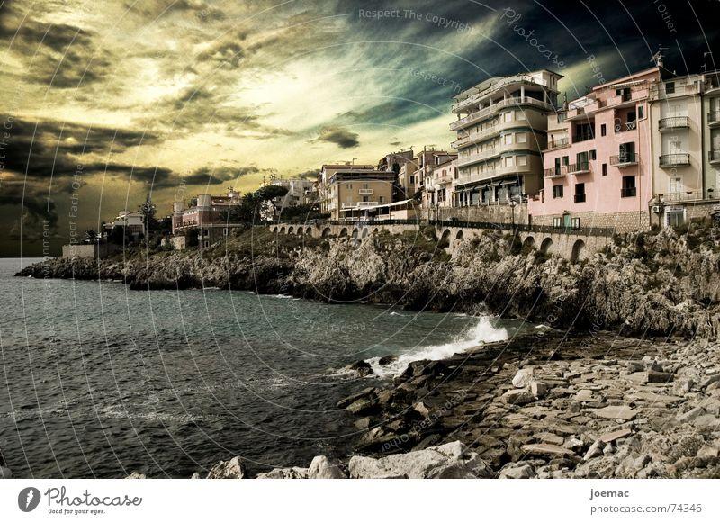 klassisch-old school-FX Italien Meer Marina di Camerota Salerno Sonnenuntergang Felswand Wellen Haus Dorf Fischer Promenade mare Himmel Abend Felsen Stein