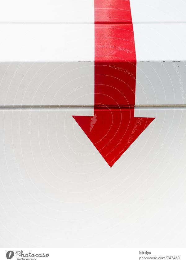 Verweis auf... Zeichen Pfeil ästhetisch einfach Sauberkeit Spitze rot weiß Reinheit Interesse Problemlösung rein Ziel signalisieren zeigen Ecke richtungweisend