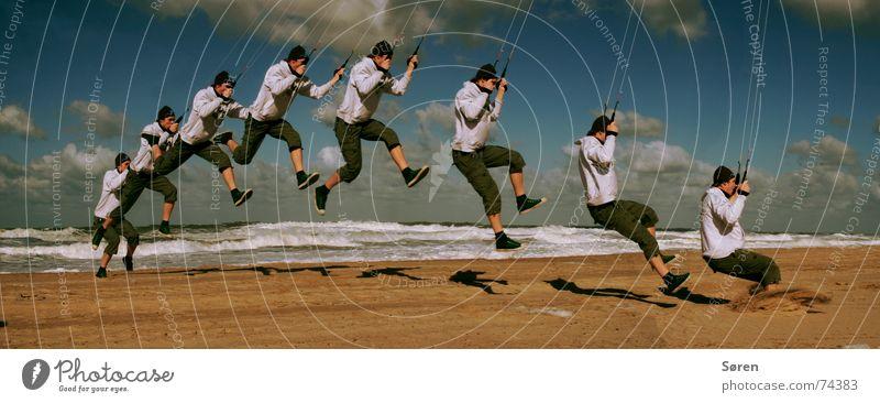 Marionette Mensch Himmel Mann Strand Freude Sand springen Surfen Dynamik Drache Brandung Niederlande hüpfen Kiting Funsport Wassersport