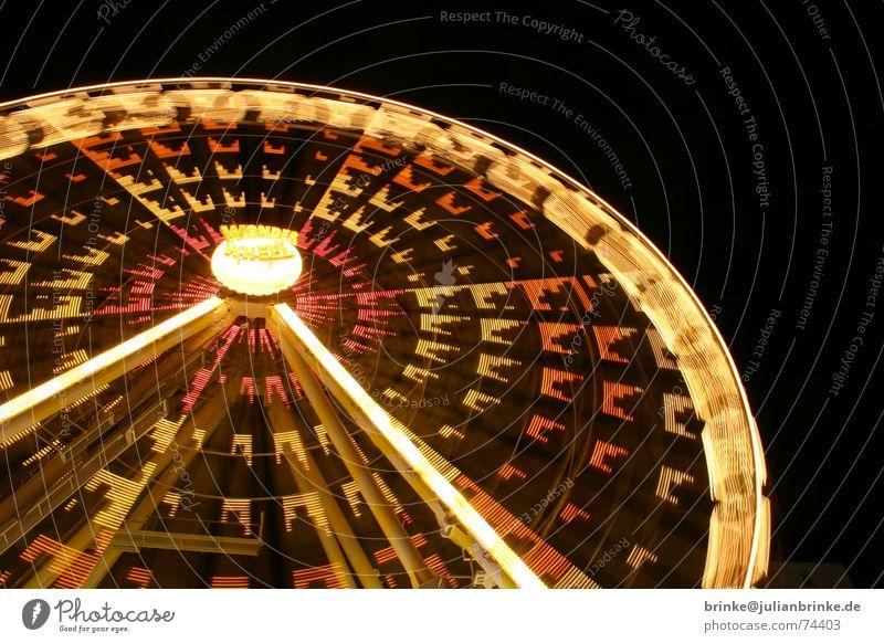 Das Rad dreht sich wieder IV Himmel Freude dunkel Bewegung hell Beleuchtung Freizeit & Hobby Geschwindigkeit Perspektive Aussicht genießen Jahrmarkt Dom Neonlicht Begeisterung Riesenrad