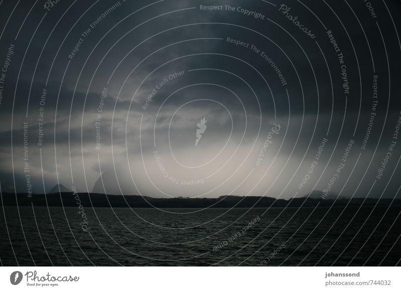 Unwetter über dem Thunersee Wasser Einsamkeit Landschaft Wolken dunkel kalt Umwelt Berge u. Gebirge Traurigkeit Tod grau See Regen wild bedrohlich Alpen