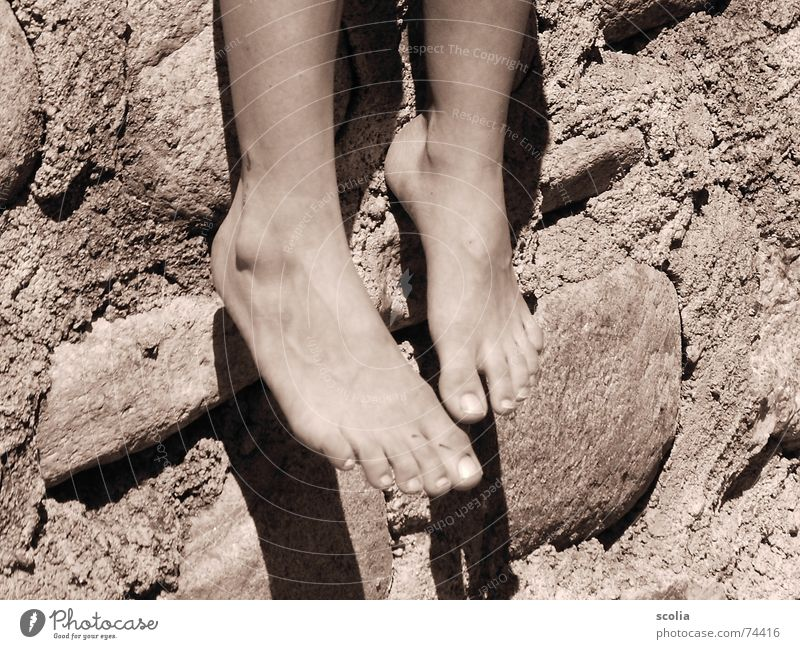 Sonnenfüße Sommer Erholung Wand Stein Mauer Fuß Pause