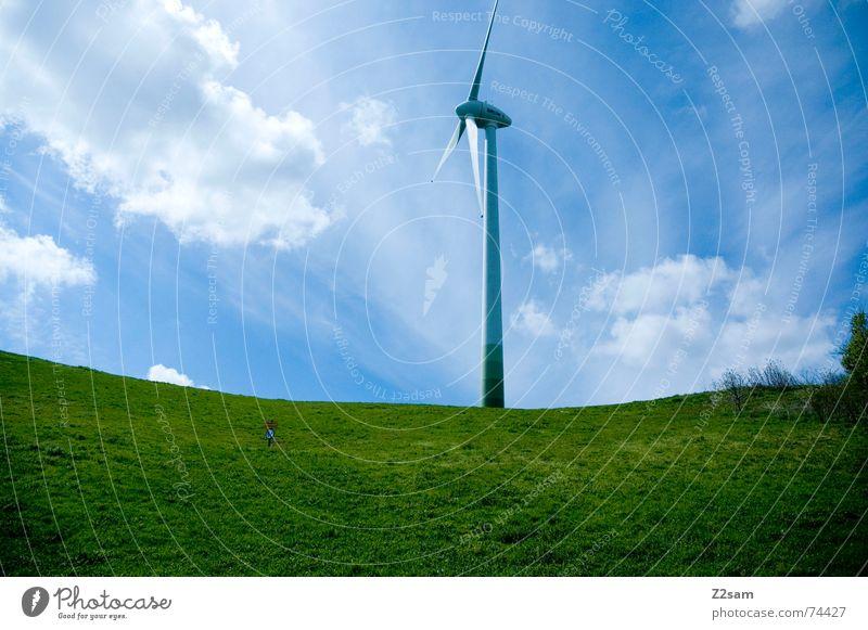 highest point Natur Himmel grün blau Sommer Wolken Wiese Berge u. Gebirge Landschaft Kraft Wind hoch Windkraftanlage