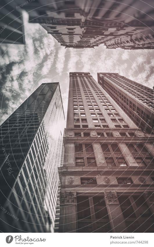 Wolkenkratzer Stadt Skyline bevölkert Hochhaus Bankgebäude Burg oder Schloss Bauwerk Gebäude Architektur Wahrzeichen Denkmal Zufriedenheit bizarr Business