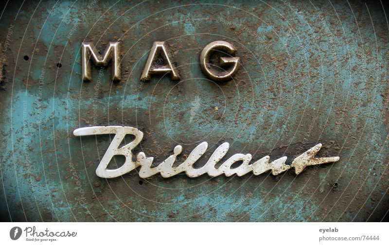 Eppel Magintosh Brillant 1954 Chrom Stahl Typographie grau Rust Grunge Blech Traktor Landwirtschaft Maschine Buchstaben historisch steel Schriftzeichen blau