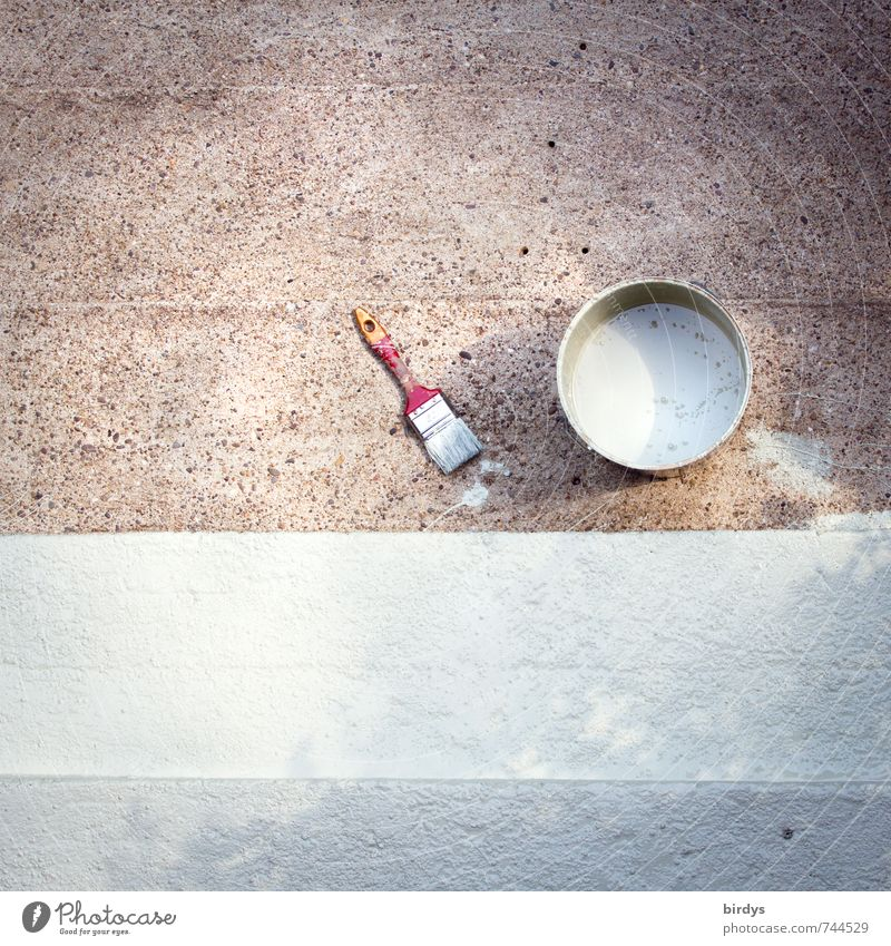Alles neu macht der Mai Renovieren Arbeitsplatz Baustelle Handwerk Werkzeug Treppe Pinsel Farbeimer Beton streichen ästhetisch authentisch einfach Originalität