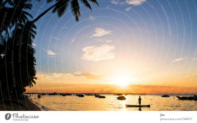Sonnenuntergang harmonisch Wohlgefühl Zufriedenheit Erholung ruhig Ferien & Urlaub & Reisen Tourismus Freiheit Sommer Sommerurlaub Strand Meer Insel 1 Mensch