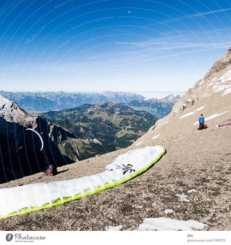 Startplatz Glacier 3000, 2890 AMSL Mensch Himmel Natur Jugendliche Sommer Sonne Landschaft Freude 18-30 Jahre Erwachsene Berge u. Gebirge Leben Herbst Sport