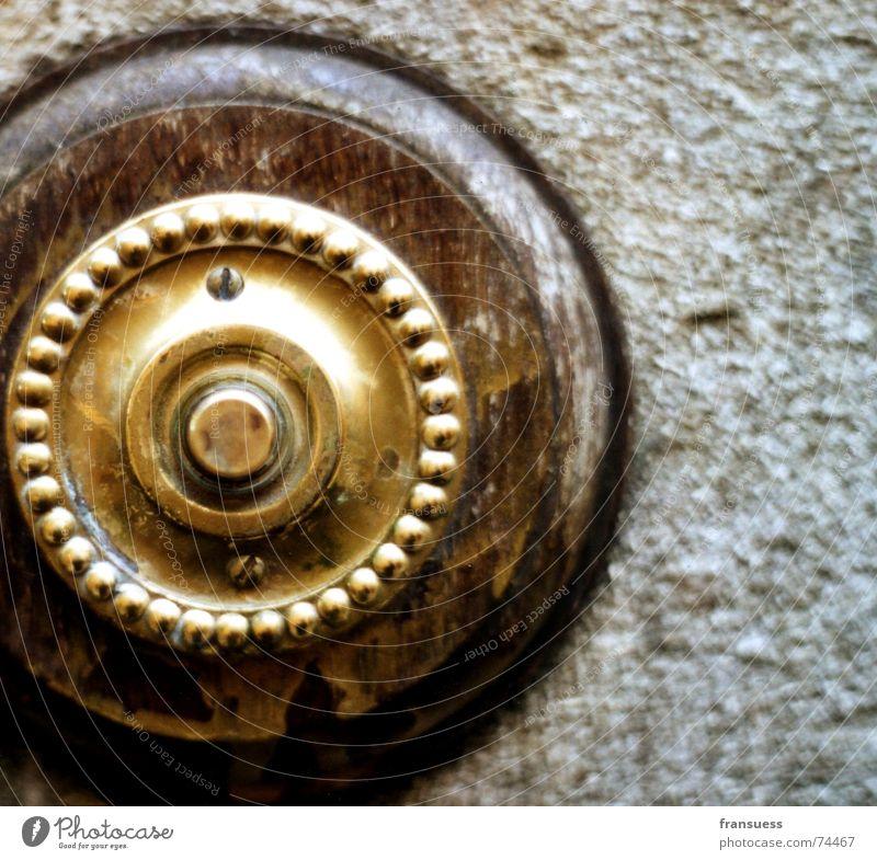 ring my bell alt Holz braun Tür gold Kreis rund Nostalgie England Knöpfe Klingel aufmachen