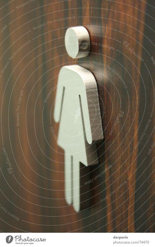 Girlsclub Holz braun Tür Spiegel Toilette Symbole & Metaphern silber