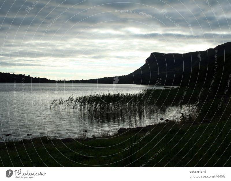 Am See Sonnenuntergang Schilfrohr Abend Republik Irland sligo Wasser Berge u. Gebirge