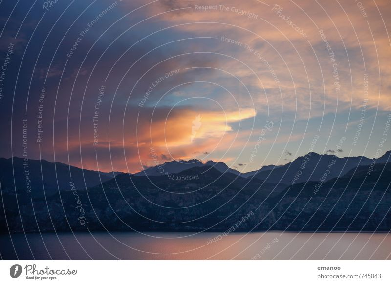 lago di garda Ferien & Urlaub & Reisen Tourismus Ausflug Freiheit Kreuzfahrt Sommer Berge u. Gebirge wandern Natur Landschaft Wasser Himmel Wolken Sonnenaufgang