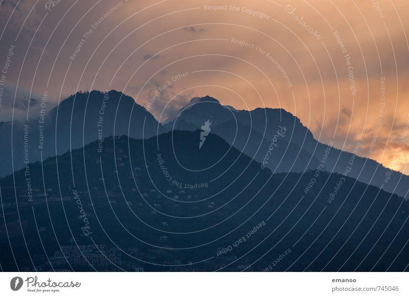 Südalpen Ferien & Urlaub & Reisen Berge u. Gebirge Natur Landschaft Himmel Wolken Sonnenaufgang Sonnenuntergang Klima Wetter Hügel Alpen Gipfel Dorf bevölkert