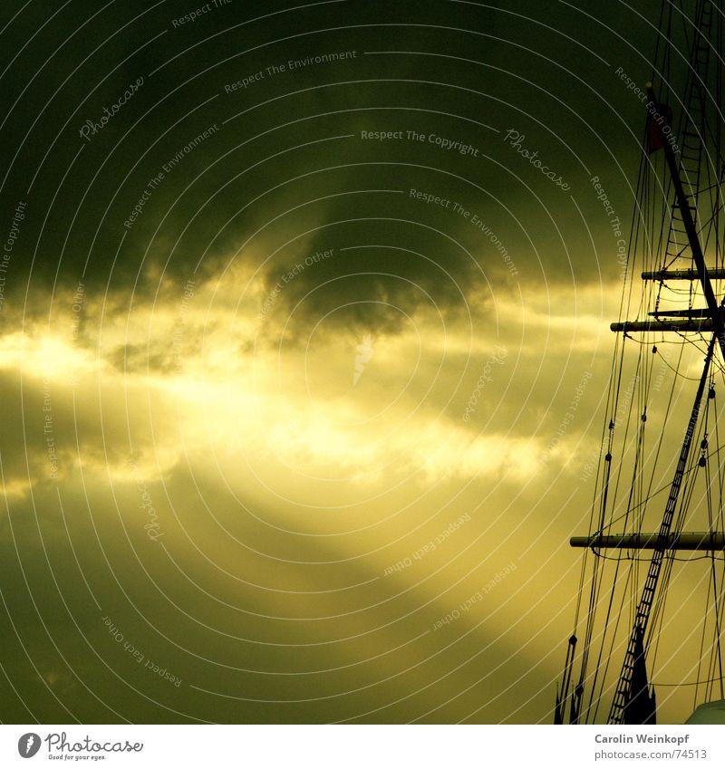 Fernweh Himmel Sonne Sommer Wolken Einsamkeit Ferne Leben Tod Wasserfahrzeug Sehnsucht Hafen Segeln Strommast Anlegestelle Abenddämmerung
