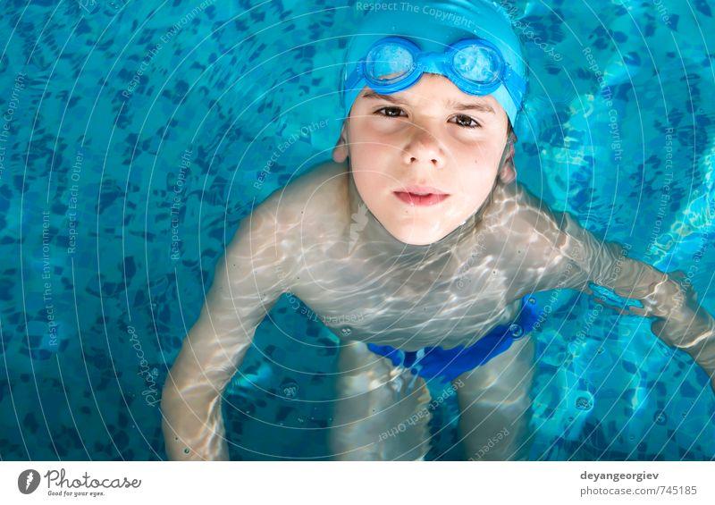 Kind Ferien & Urlaub & Reisen blau Sommer Freude Junge Sport Spielen klein Glück Schule Freizeit & Hobby Aktion Kindheit Fröhlichkeit nass