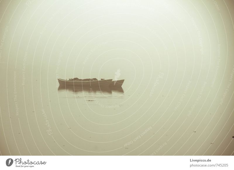 im Nebel Angeln Ferien & Urlaub & Reisen Umwelt Natur Landschaft Wasser Himmel Herbst Seeufer Fischerboot dunkel weich Gelassenheit geduldig ruhig Farbfoto