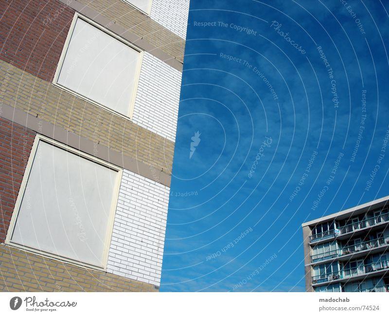 QUATSCH RULEZ!!! Himmel Stadt blau Wolken Haus Fenster Leben Architektur Gebäude Freiheit fliegen oben Arbeit & Erwerbstätigkeit Wohnung Design Wetter
