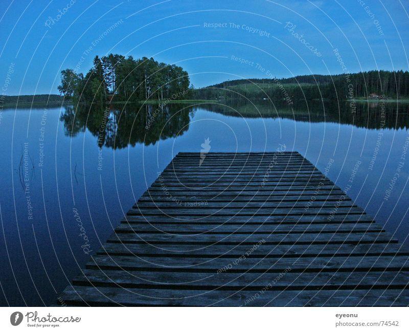 Nachts am See Wasser ruhig dunkel Wege & Pfade See Insel Nacht Steg Schweden Halbschlaf Nachtruhe